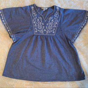 TANTRUM Blue Embroidered Blouse Made In India Sz M